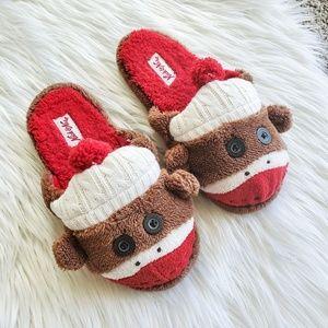 NWOT Nick & Nora Plush Sock Monkey Slippers